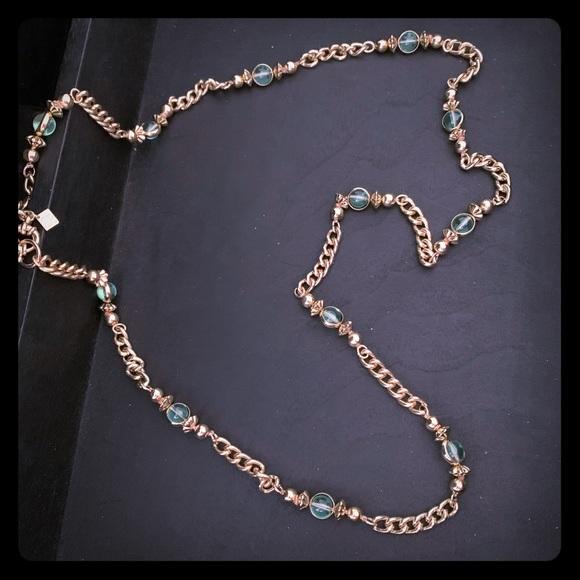 Banana Republic Jewelry - Banana Republic gold & green beaded necklace
